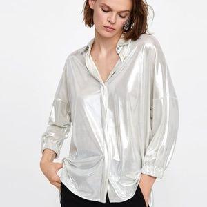 Zara Basic Lame-Effect Shirt S Silver Button Down